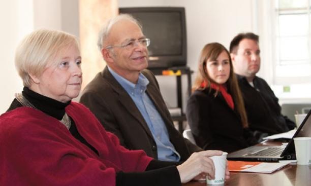 "Organizers of the ""Open Hearts, Open Minds"" conference at an Oct. 15 press conference: from left, Frances Kissling of the University of Pennsylvania, Peter Singer of Princeton, Jennifer Miller of Bioethics International, and Charles Camosy of Fordham"