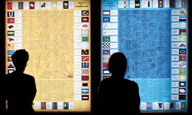 Large maps of a once-thriving Jewish neighborhood of Berlin in 1933 and in 1993 are the focus of a pair of lightboxes created by Berlin-based conceptual artists and now installed in East Pyne. A lightbox detail is shown in the images at top, which depict