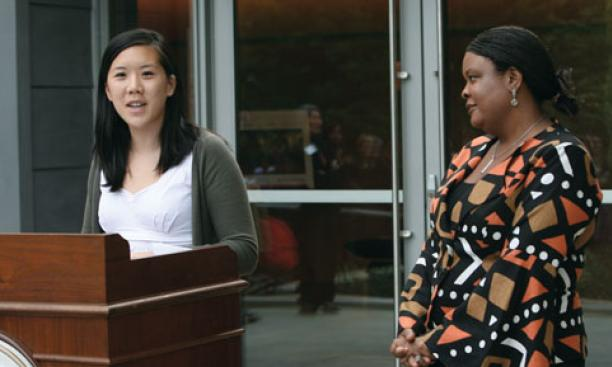 "Fields Center board member Dora Chua '10 describes ""a sense of rejuvenation"" as director Makeba Clay looks on."
