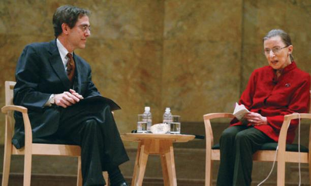 Justice Ruth Bader Ginsburg responds to a question from Provost Christopher Eisgruber '83.