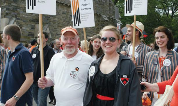 Douglas Bailey *72 and his daughter Kat '10 march in the 2010 P-rade. A new report says that campus events held at times other than Reunions may be more appealing to graduate alumni.