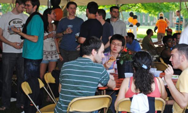 About 200 grad students who passed their generals attended a celebration May 26 ­outside Whig Hall, a new event sponsored by the graduate school.
