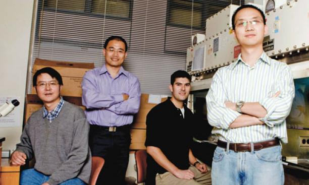 From left, Princeton researchers Yong Wei, assistant professor Yibin Kang, Andres Blanco, and Guohong Hu.