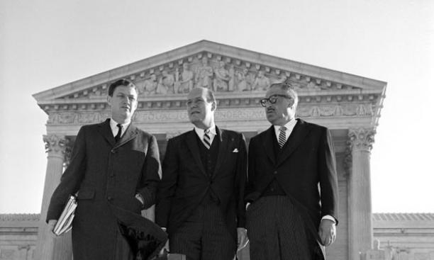 From left, John Doar '44, Nicolas Katzenbach '43, and Thurgood Marshall in 1966 outside the Supreme Court.
