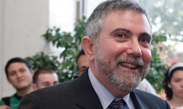 Professor Paul Krugman beams during a Woodrow Wilson School reception celebrating his Nobel Prize.