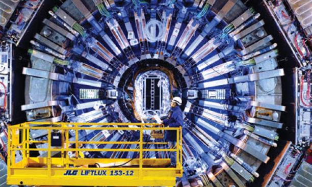 Princeton professors helped design the Compact Muon Solenoid (shown in December 2007), one of the experimental devices in the Large Hadron Collider.