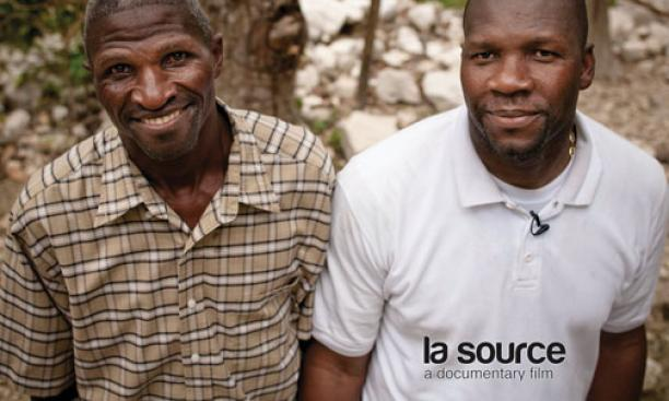 Lajeunesse with his brother Chrismedonne in Haiti, where they have built a water system for their village.