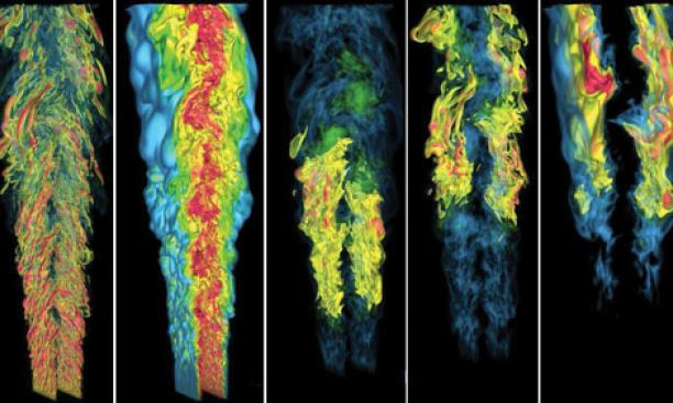 Understanding the fundamentals of combustion could aid the design and development of clean-burning fuels and engines. These images, from Sandia National Laboratories, show a computer simulation of flames produced by a jet of gas of the sort used in fuel-i
