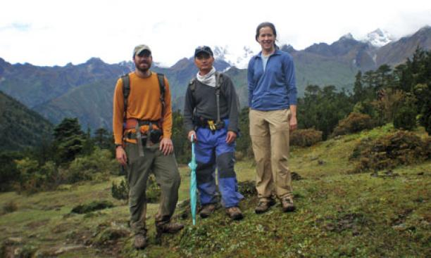From left, graduate students Sean Long and Tobgay and assistant professor Nadine McQuarrie traveled to Bhutan last fall to survey the geologic history of the Himalayas.