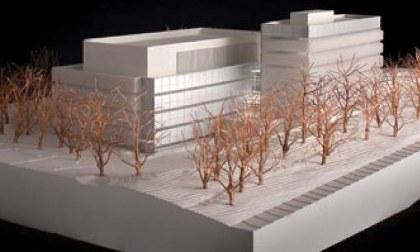 Architect's model of a new building to house the Neuroscience Institute, left, and the psychology department.