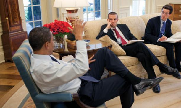 Adam Frankel '03, right, meeting at the White House with chief speechwriter Jon Favreau and President Barack Obama.