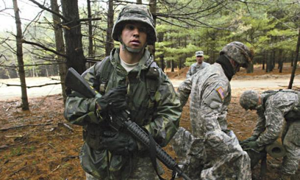 Peter Yorck '10 with other ROTC cadets during field-training exercises March 28 at Fort Dix. At rear center is Lt. Col. John Stark, ROTC commander.