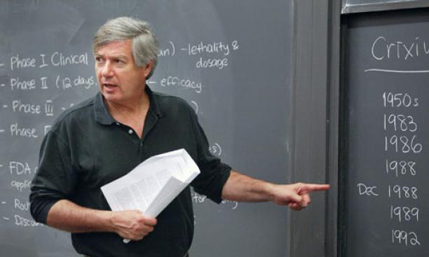 "Visiting lecturer James Shinn '73 *01 says his course is designed to offer ""a reality of decision-making."""