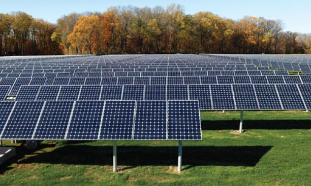 GPS-directed solar panels of the type that Princeton plans to install on a 27-acre site.