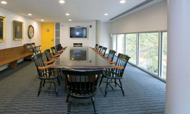 The James Madison Room in Whig Hall has energy-­efficient recessed lighting and a flat-screen television.