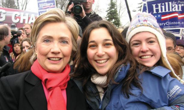 Seniors Peri Rosenstein, center, and Regina Lee with Sen. Hillary Clinton in Manchester, N.H. The two were among 19 Princeton students who spent a week in New Hampshire working for candidates­.