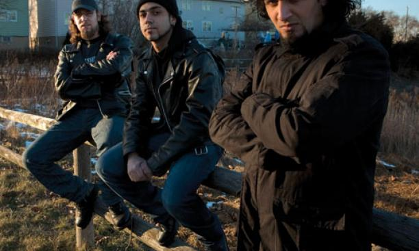 From left, Firas Al-Lateef, Faisal Talal, and Marwan Riyadh, members of the Iraqi heavy-metal band Acrassicauda, in Elizabeth, N.J., in February. A fourth member, Tony Aziz, is not pictured.