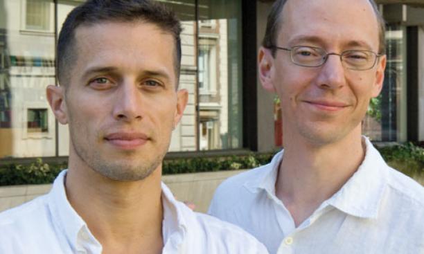 Professors D. Graham Burnett '93, left, and Jeff Dolven