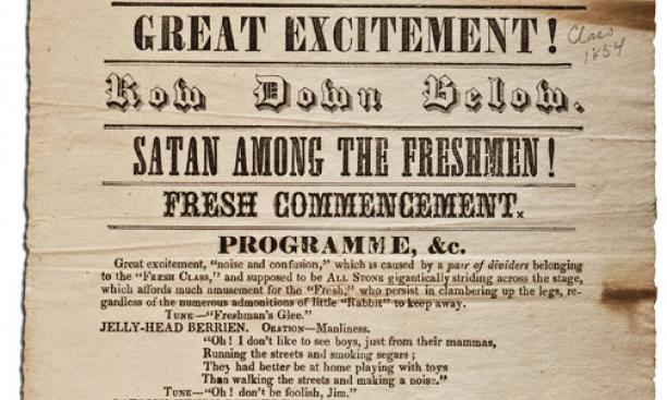 """Among the 30 to 50 sophomore """"proclamations"""" in Mudd Library's collection is this program advertising a Freshman Commencement for the Class of 1854."""