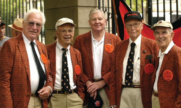 Enjoying the day at the Class of 1943's 65th are, from left, Peter Platten, Stu Skinner, Stever Aubrey, Rip Radcliffe, and Jim Walsh.