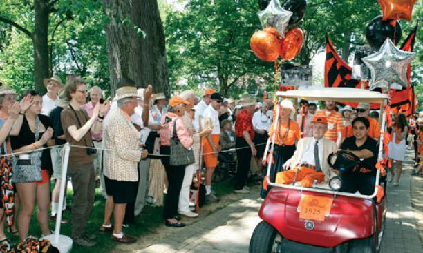 Above, Class of 1923 Cane honoree Malcolm Warnock '25, ­driven by Ariana Vera '12, leads members of the Old Guard in the P-rade.