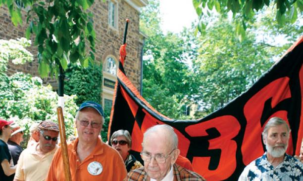Fritz Hummel '36, walking the P-rade route with his son, Karl '67, at right.