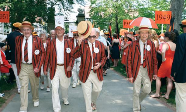 From left, Paul Spagnoli '46, Owen Roberts '46, Alan Lukens '46, and Gerry Phillips '46 walk the P-rade route at their 65th reunion, their last before joining the Old Guard.