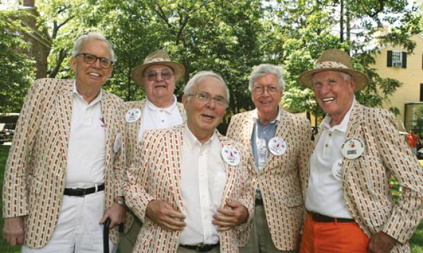 Reconnecting at their 55th reunion are Class of 1956 ­members, from left, Jim Duffy, Frank Giovino, Charlie Kern, Frank Klapperich, and Henry Dawes.