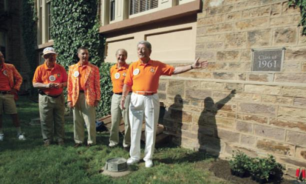 WATCHING IT GROW: The Class of 1961 planted its class ivy at Nassau Hall.