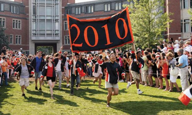 The Class of 2010 makes its debut in Princeton's P-rade.