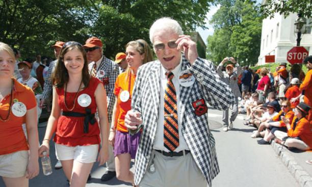Former N.J. Gov. Brendan Byrne '49 greets spectators along the P-rade route.