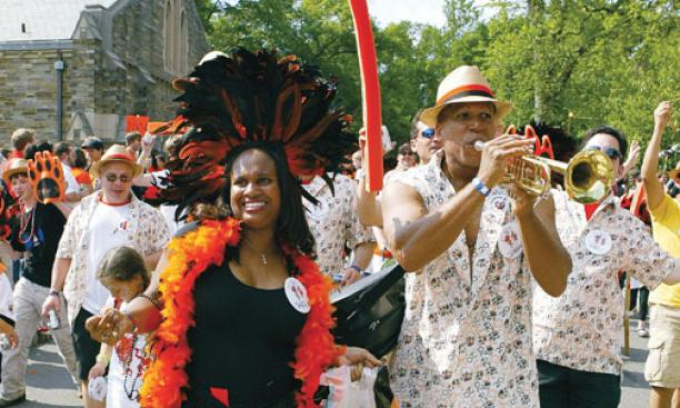 "Sheila Boston '90 and her husband, Jerome Robinson, ""keep it Rio"" as they party in the P-rade."