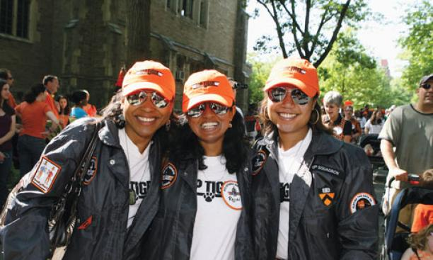 """Top Tigers"" in '95: Burnadean Jones, Rajini Ramakrishnan, and Mila Davis."
