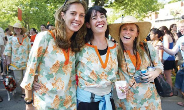 "1999 celebrates ""Tentucky Derby"" in refined Reunions garb. From left: Anne Matlock Dinneen, Tiffany Tuttle, and Tice Burke."