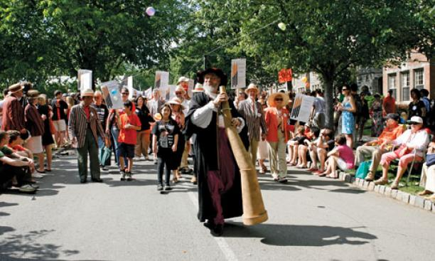 Galileo leads a large contingent of graduate alumni and their families in the P-rade.