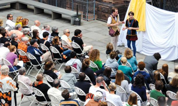 "Members of the Princeton Shakespeare Company put on ""The Complete Works of William Shakespeare (Abridged)"""