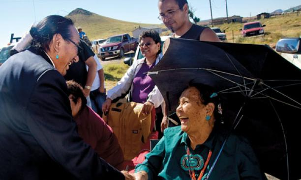 Jim greets supporters at the Southwest Navajo Fair parade in Dilkon, Ariz., in September.