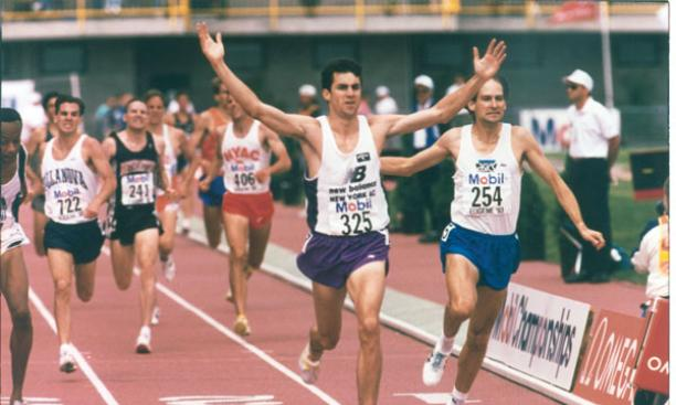 Bill Burke '91, shown with arms raised at the  1993 USA Track and Field Championships, ran Prnceton's only sub-4:00 mile by an undergraduate.