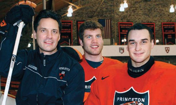 From left, coach Guy Gadowsky and seniors Cam MacIntyre and Zane Kalemba all played junior hockey to prepare for their collegiate careers.