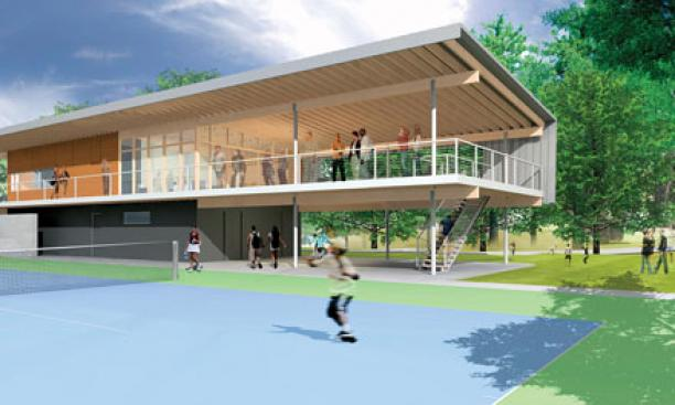 A rendering of the Cordish Pavilion, now open for Princeton's varsity matches.