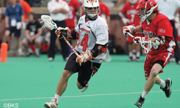 Jack McBride '11, shown in action May 1, scored three goals against Cornell May 9.