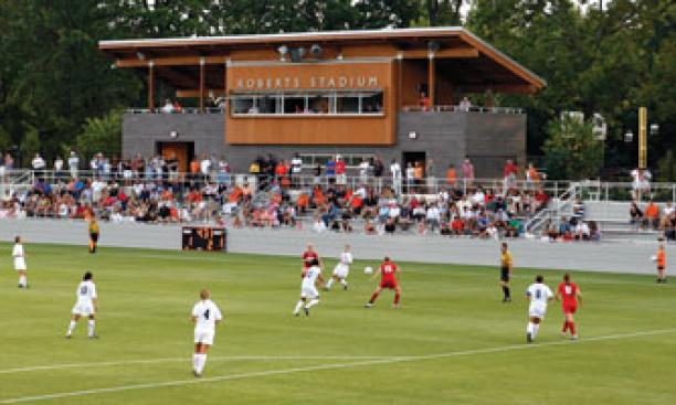 The Princeton women beat Boston University in Roberts Stadium's first game.