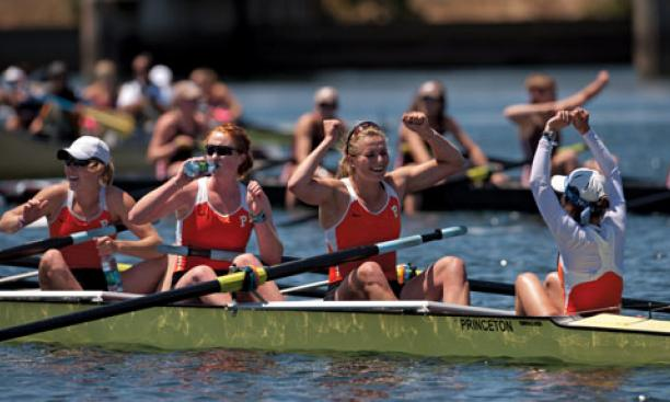 From left, Emily Reynolds '11, Kelsey Reelick '14, Lauren Wilkinson '11, and coxswain Lila Flavin'12 celebrate Princeton's win in the varsity eight.