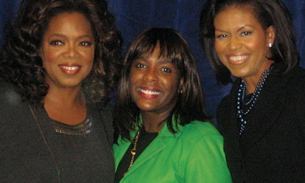 Sewell, center, with Oprah Winfrey and Michelle Obama '85 ­during the 2008 presidential campaign.