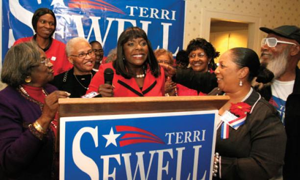 In Selma, Terri Sewell '86 celebrates her victory Nov. 2 as the first black woman to be elected to represent Alabama in Congress.