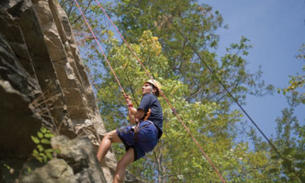 Ryan Ellis ascends a rock face in the Delaware Water Gap.