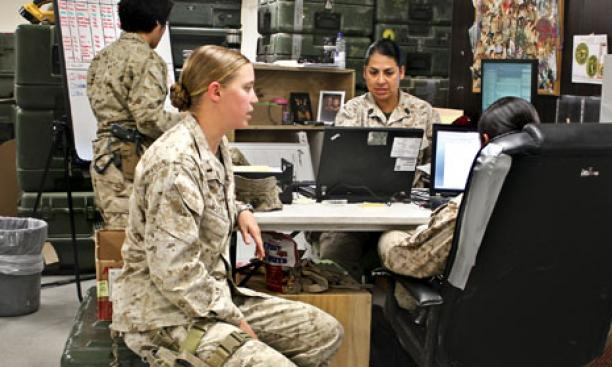 Bedell in the FET office at Camp Leatherneck, the Marines' primary base in Helmand Province.