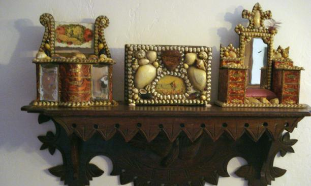 The antique Eastlake shelf is from an Ohio seller. The three Victorian shell art seaside souvenirs are from different sellers.
