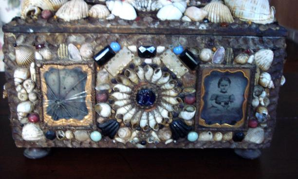 "This late 19th century ""tramp art"" or ""Shell Art"" memento box is from a seller in Missouri."