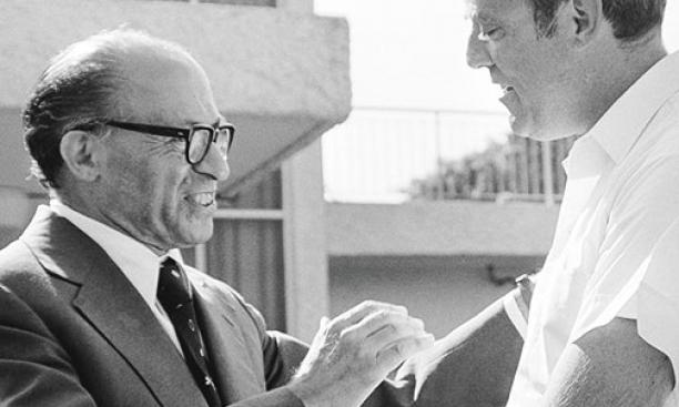 Samuel W. Lewis *64, right, with soon-to-be Israeli prime minister Menachem Begin.